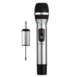 Hotec 25 Channel UHF Handheld Wireless Microphone with Mini Portable Receiver 1/4″ Output